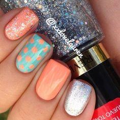 Polka dots, bright mint, and tangerine glitter nails. Nail Art. Nail Design by xxlovelauren #GlitterNails