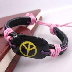 3pcs Handmade Fashion Yellow Peace Charms Pink Hemp by jewelrygo, $3.99