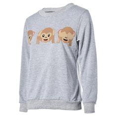 Koly Femmes Singe Emoji Imprimé à Manches Longues Pull Shirt Tops Blouse: Amazon.fr: Vêtements et accessoires