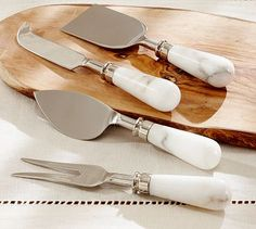Marble Cheese Knives, Set of 4 #potterybarn Because who doesn't need a set of marble cheese knives, honestly.
