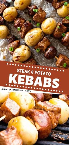 Tender and juicy Steak and potato kebabs grilled to perfection! These steak kebabs have button mushrooms with Yukon gold potatoes. Try this easy, flavorful, and family-friendly recipe! Save this pin for later!