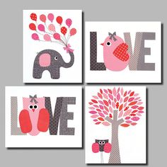 Love+Pink++Nursery+wall+art+kids+room+baby+by+3000yardsofthread,+$56.00