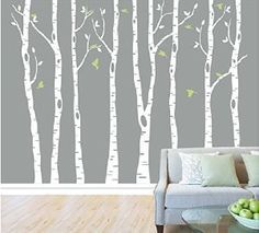 Amazon.com: Set of 8 Birch Tree Wall Decal for Nursery Big White Tree Wall Sticker Fliying birds Wall Art Decor: Baby