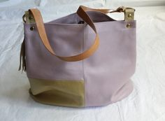 Colorblock Chic Lavender Gold Soft Italian Leather Shoulder Purse Bucket Bag with Leather Straps USA by jewelrypieces on Etsy