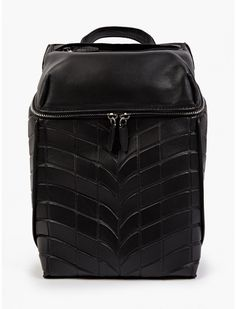 Men's Black Leather and Neoprene Backpack