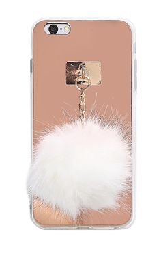Shock absorbent iphone 6/6s Plus case featuring a metallic reflective back with attached hardware and hanging faux fur pom. Lightweight.Imported