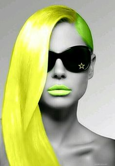 . Color Splash, Color Pop, Black And White Face, Beach Blonde, Shades Of Blonde, Yellow Hair, Color Of Life, Neon Colors, Love And Light