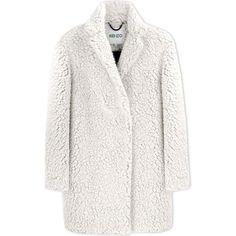Kenzo Coat (2,610 EGP) ❤ liked on Polyvore featuring outerwear, coats, white, lapel coat, boucle coat, long sleeve coat, white coat and kenzo