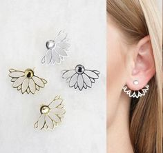 Authentic Genuine stamp 925 sterling silver jacket double side spring flower girl earring Outfit Accessories From Touchy Style. Jewelry Trends 2018, Latest Jewellery Trends, Kids Earrings, Simple Earrings, Sterling Silver Earrings Studs, Earring Studs, Charm Jewelry, Diy Jewelry, Fashion Bracelets