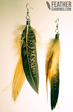 Brown Orange Pheasant Feather Earrings $14.99