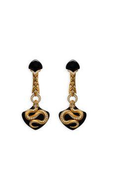 Magerit - Mythology Collection: Earrings Snake Long Onyx