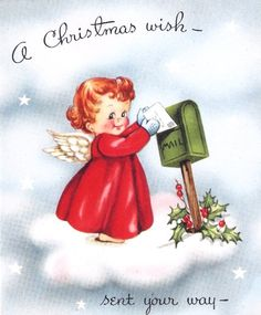 Vintage Christmas Card Cute Little Angel and by PaperPrizes