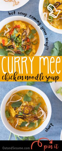 Curry Mee Noodle Soup - rich coconut broth with warm spices create a chicken noodle soup that's got amazing flavor! | Recipe at OatandSesame.com