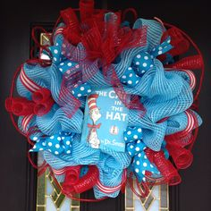 Cat in the Hat deco mesh wreath, Dr. Seuss deco mesh wreath, blue and red deco mesh wreath. #22  Wreaths by Ileana