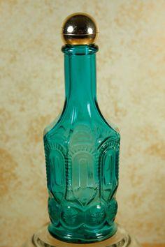 Vintage Avon Turquoise Mouthwash Bottle