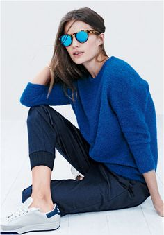 It's Sweater Time, cobalt blue and navy, sneakers