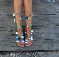 f9ffa8287741 Tie Up Gladiator Sandals Greek Sandals Semi Precious Stones Swarovski Pom  Pom Boho Sandals
