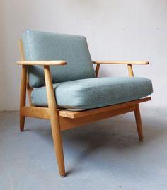 Danish beech lounge chairs with light green wool cushions