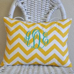 Chevron Pillow Cover Choose Your Colors Monogrammed by PillowMio, $26.00