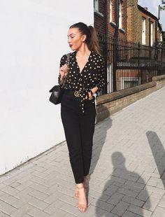 Liv Harrould rockin' a polka dot blouse by Boohoo