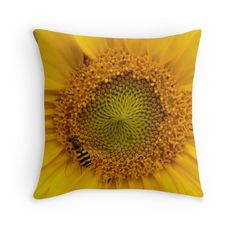 Vibrant Sunny Summer Bright Yellow Sunflower Heart with Black and Yellow Striped Yellowjacket Wasp Bee Photographic Print Wildlife Insect Garden Throw Pillow Cushion. Printed from an original photograph by Jo Rymell.