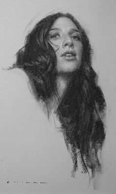 """Attraction"" - Casey Childs, charcoal, 2015 {contemporary figurative art female head woman face portrait drawing #2good2btrue} caseychilds.com"