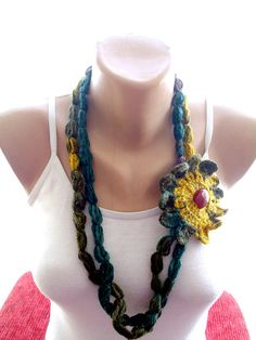 Crochet lariat scarf crochet flowered scarf by redrosewholesaler