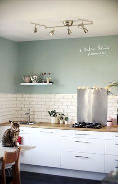 """Cuisine blanc laqué plan travail bois couleur ressource """"vert biscuit"""". Une cuisine douce et fraîch"""