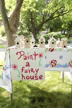 Great idea for a party -> Paint a fairy house--never thought of this as the fairy house.....I always made them for the birds.....but they could be neat on the ground, on a stump, with a welcome mat for fairies too!