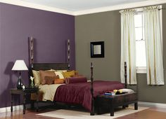 This is the project I created on Behr.com. I used these colors: SPANISH GALLEON(760D-6),ORIENTAL EGGPLANT(PPU17-2),RIVER BANK(380F-6),CREAMY WHITE(W-D-710),