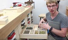 At Jer's Workshop, Jeremy Schmidt builds a series of wooden lock-into-place parts bin drawers.