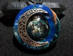 Wolves and Moon Pendant + free shipping worldwide, wolf necklace, wolf jewelry, wolves and moon pendant, wolf totem jewelry, wild animals by OurArtyCreations on Etsy