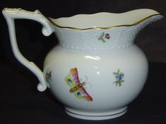 Old 1940 Herend Victoria Peony Butterfly Porcelain Creamer Milk Pitcher Floral #Herend