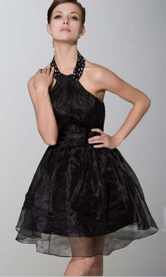 Short Halter Little Black Dress With Belt Bow knot KSP203