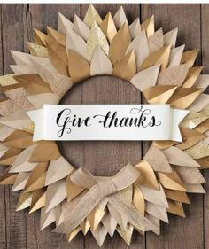 Give thanks burlap and paper wreath