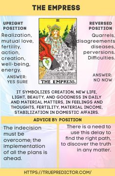 The Empress tarot card meaning in love and career readings — True prediction Get an Online Psychic Reading from one of our Online Psychic Readers in the comfort of your own home/office. The Emperor Tarot, Tarot Interpretation, Tarot Cards For Beginners, Tarot Card Spreads, Tarot Astrology, Tarot Card Meanings, Card Reading, Love Tarot Reading, Tarot Decks