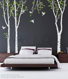 Art Tree Wall Sticker Wall Decals Tree Decal  New forest Trees  - 101in set of 3 trees. $85.00, via Etsy.
