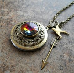 Fiery Swarovski Rivoli Locket in Brass by EnchantedLockets on Etsy, $26.00