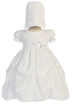 Jacquard Print Bubble Christening Dress with Pick up Skirt (Baby Girls Newborn - 18 months)