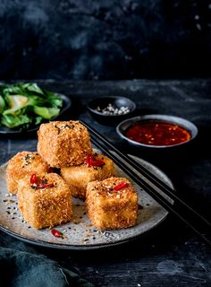 This crunchy fried tofu is great when entertaining. The sweet chilli sauce can be made in advance but the tofu is best served immediately after being fried. Ginger Sauce, Sweet Chilli Sauce, Best Tofu Recipes, Vegetarian Recipes, Deep Fried Tofu, Crispy Tofu, Food Photography, Phone Photography, Entertaining