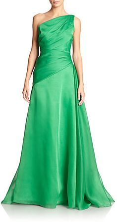 ML Monique Lhuillier Moire One-Shoulder Gown