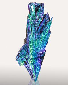 Aqua Aura Kyanite; Minas Gerais, Brazil I've gone a little overboard on the artificially enhanced minerals lately, but I thought this ...