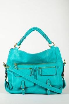 Large  style handbag: Love that teal! Has elbow handle and cross body shoulder strap too. Cute!  by diana