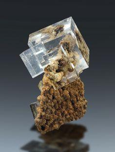 Fluorite on matrix - Dal'negorsk, Primorskiy Kray, Far-Eastern Region, Russia (Source: awminerals.com)