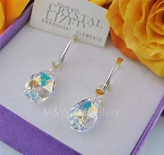 Ebay-jewellerymw-EARRINGS SWAROVSKI Elements ALMOND CRYSTAL AB 16 mm STERLING SILVER 925-$12.28