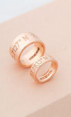 unique latitude and longitude bride and groom wedding rings