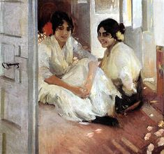 Two gipsy girls by Joaquin Sorolla Spanish Painters, Spanish Artists, Claude Monet, Madrid, Art Through The Ages, Post Impressionism, Human Art, Famous Artists, Figure Painting