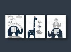 Lot de 3 illustrations 18x24cm pour chambre d'enfant et bebe, gris bleu marine