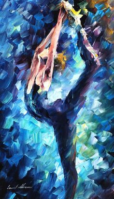 Leonid Afremov, oil on canvas, palette knife, buy original paintings, art, famous artist, biography, official page, online gallery, large artwork, blue dress, girl, beauty, music, dance, ballet, ballerina