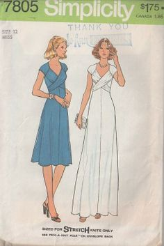 MOMSPatterns Vintage Sewing Patterns - Simplicity 7805 Vintage 70's Sewing Pattern AMAZING Clingy Stretch Knits Disco Party Dress, Evening Gown, Long Bust Straps Wrap Around, GODDESS!